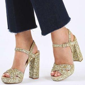 Topshop Gold Glitter Black Heel Shoes Size 38
